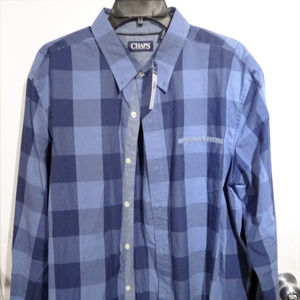 Checkerd Blue Chaps Casual Dress Shirt XL with Tag